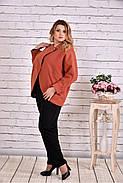 Женское короткое кашемировое пальто большого размера T0640 / размер 42-74 / цвет терракот, фото 3