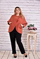 Женское короткое кашемировое пальто большого размера T0640 / размер 42-74 / цвет терракот