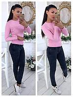 Женский стильный свитер с бусинами на клепках (3 цвета), фото 1