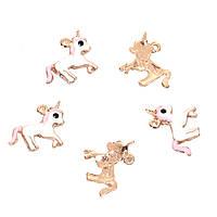 Подвеска Единорог, Золото, Белый & Розовый & Чёрный с эмалью, Цинковый сплав, 16мм x 14мм
