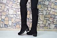 Женские высокие зимние сапоги чёрные с украшением