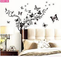 Интерьерная наклейка на стену  Дерево и бабочки (AY7005), фото 1