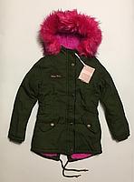 Зимняя куртка парка для девочек на 8  лет