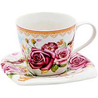 Чашка фарфоровая Розовый сад 220 мл
