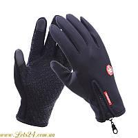Сенсорные перчатки утепленные флисовые (для сенсорных экранов телефонов) Чёрные L