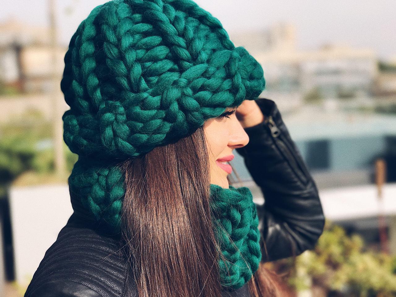 Комплект шапочка + снуд 100% шерсть мериноса, фото 1