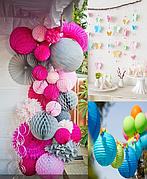 Праздничный декор: бумажные помпоны, цветы, шары плиссе, соты, веера, гирлянды, воздушные шары