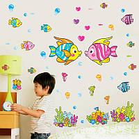 Интерьерная наклейка на стену подводный мир (QC2002)
