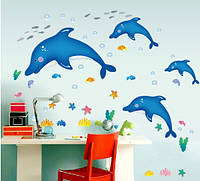 Интерьерная наклейка на стену Дельфины  (AY9168)