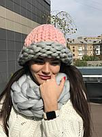 Набор шапка+хомут крупной вязки из 100% шерсти мериноса