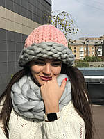 Набор шапка+хомут крупной вязки из 100% шерсти мериноса, фото 1