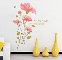 Интерьерная наклейка на стену Розовый цветок (QC8041)