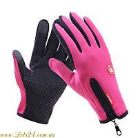 Сенсорные перчатки утепленные флисовые (для сенсорных экранов телефонов) Розовые