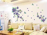 Интерьерная наклейка на стену  Сиреневые Цветы  (AY9190)