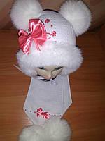 Комплект зимний на девочку шапка и шарф белая, фото 1