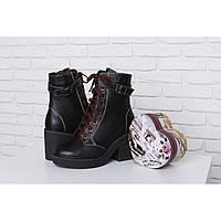 Стильные зимние женские кожаные ботинки на молнии