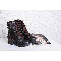 Женские высокие ботинки зимние на молнии и шнуровке