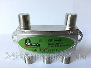 Коммутатор для спутникового ТВ DiSEqC 4x1 Q-Sat QS-4D, фото 2
