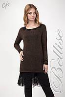 Комплект состоящий из верхней вязаной туники и нижнего платья, шоколадного цвета, фото 1