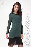 Комплект состоящий из верхней вязаной туники и нижнего платья, зеленого цвета