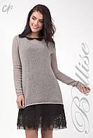 Комплект состоящий из верхней вязаной туники и нижнего платья, бежево-серого цвета