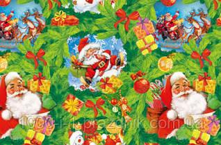 Папір пакувальна Дід Мороз на зеленому