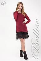 Комплект состоящий из верхней вязаной туники и нижнего платья, темно-красного цвета