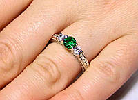 Кольцо серебро 925 проба 17.5 размер АРТ1207 Зеленый