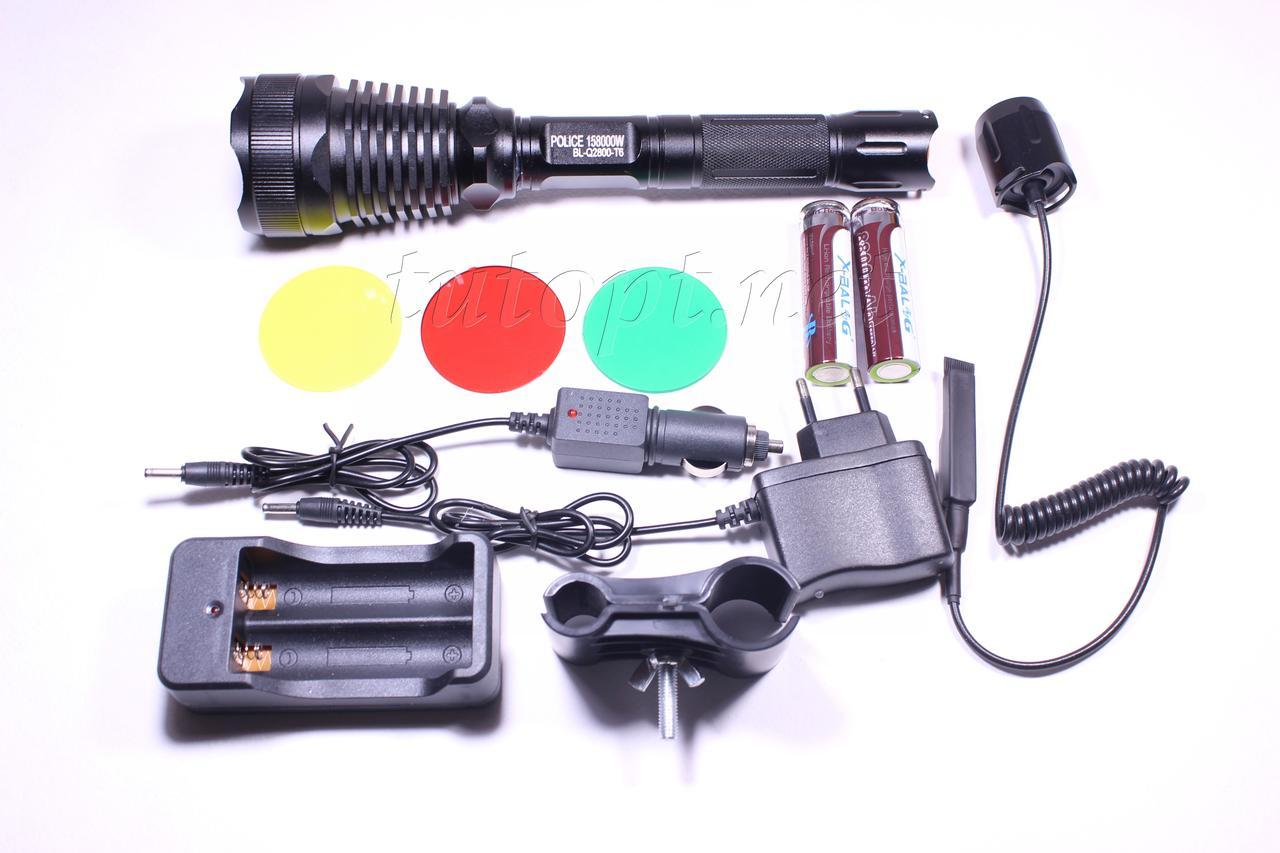 Фонарь X-Balog BL-Q2800/ 1 или 2 Х Li-ion18650/ 1 х Cree XM-L T6/ Крепление под ружье/ 3доп. светофильтра