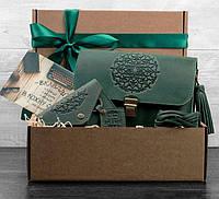 """Интересный подарочный набор аксессуаров """"Монреаль"""" BlankNote BN-set-access-15 зеленый"""