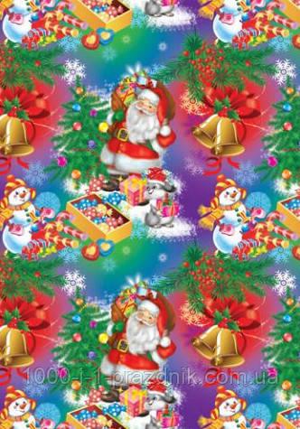 Бумага упаковочная Дед Мороз в бликах
