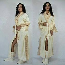 Набор длинный махровый халат с кружевами плюс махровые сапожкиДекорированый жемчугом