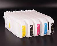 Перезаправляемые картриджи (ПЗК/ДЗК) для Canon iPF810/iPF830 без чипов (5 шт. по 700 мл)