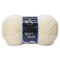 Турецкая пряжа для вязания Nako sport wool (спорт вул) толстая пряжа 4109 крем