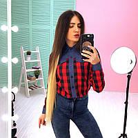 Женская хлопковая рубашка с джинсовой вставкой