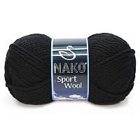 Турецкая пряжа для вязания Nako sport wool (спорт вул) толстая пряжа 217 черный