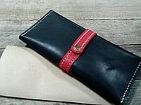 Кожаный клатч для телефона и купюр