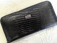 Женский кошелек кожаный черный на молнии (Турция)