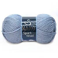 Турецкая пряжа для вязания  Nako sport wool (спорт вул) толстая пряжа 11223 джинсовый меланж
