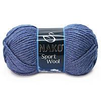 Турецкая пряжа для вязания  Nako sport wool (спорт вул) толстая пряжа 23162 джинсовый меланж
