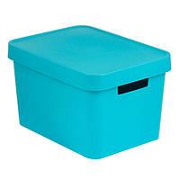 Коробка пластиковая с крышкой Infinity 17 л 360x270x220 мм бирюзовая