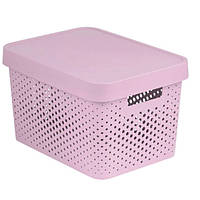 Коробка пластиковая с крышкой Infinity 17 л 360x270x220 мм розовая ажурная