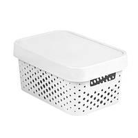 Коробка пластиковая с крышкой Infinity 11 л 360x270x140 мм белая ажурная