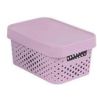 Коробка пластиковая с крышкой Infinity 11 л 360x270x140 мм розовая ажурная