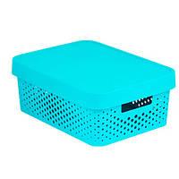Коробка пластиковая с крышкой Infinity 11 л 360x270x140 мм бирюзовая ажурная