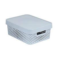 Коробка пластиковая с крышкой Infinity 11 л 360x270x140 мм серая ажурная