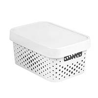 Коробка пластиковая с крышкой Infinity 4.5 л 270x190x120 мм белая ажурная