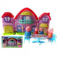 Домик Свинка Пеппа Peppa Pig, домик, 4 фигурки, 4 стула, стол. Игрушечные домики, домики для кукол, для детей