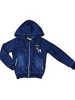 Джинсовая куртка на меху для мальчиков, размеры 98-128, Grace, арт. B72361