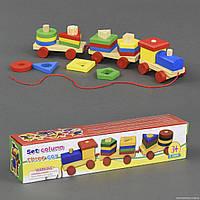 Деревянная игрушка каталка, сортер логика ПаровозикС 23076